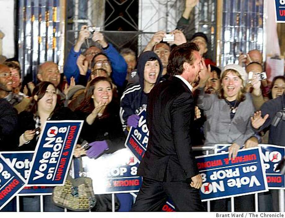 """Sean Penn greeted a large No on Prop 8 crowd gthered across the street. A benefit screening of the film """"Milk"""" at the Castro Theatre in San Francisco Tuesday October 28, 2008. Photo: Brant Ward, The Chronicle"""