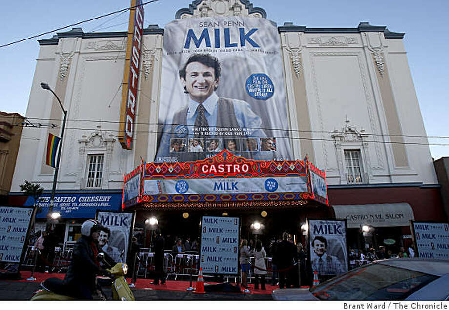 "Market and Castro was quite a scene with the Castro theatre all lit up. A benefit screening of the film ""Milk"" was held at the Castro Theatre in San Francisco on Tuesday, October 28, 2008. Photo: Brant Ward, The Chronicle"