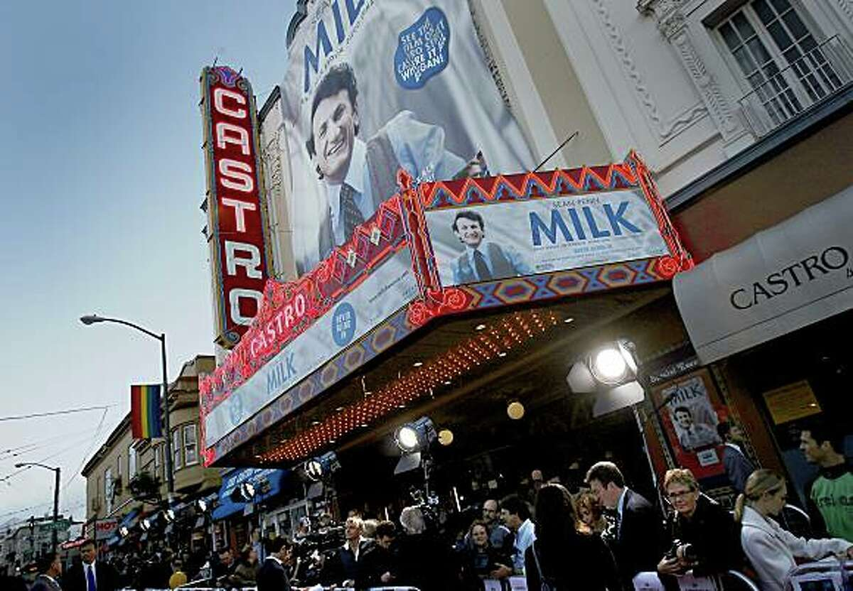 """The media waited for the stars to arrive at the Castro Theatre. A benefit screening of the film """"Milk"""" was held at the Castro Theatre in San Francisco on Tuesday, October 28, 2008."""