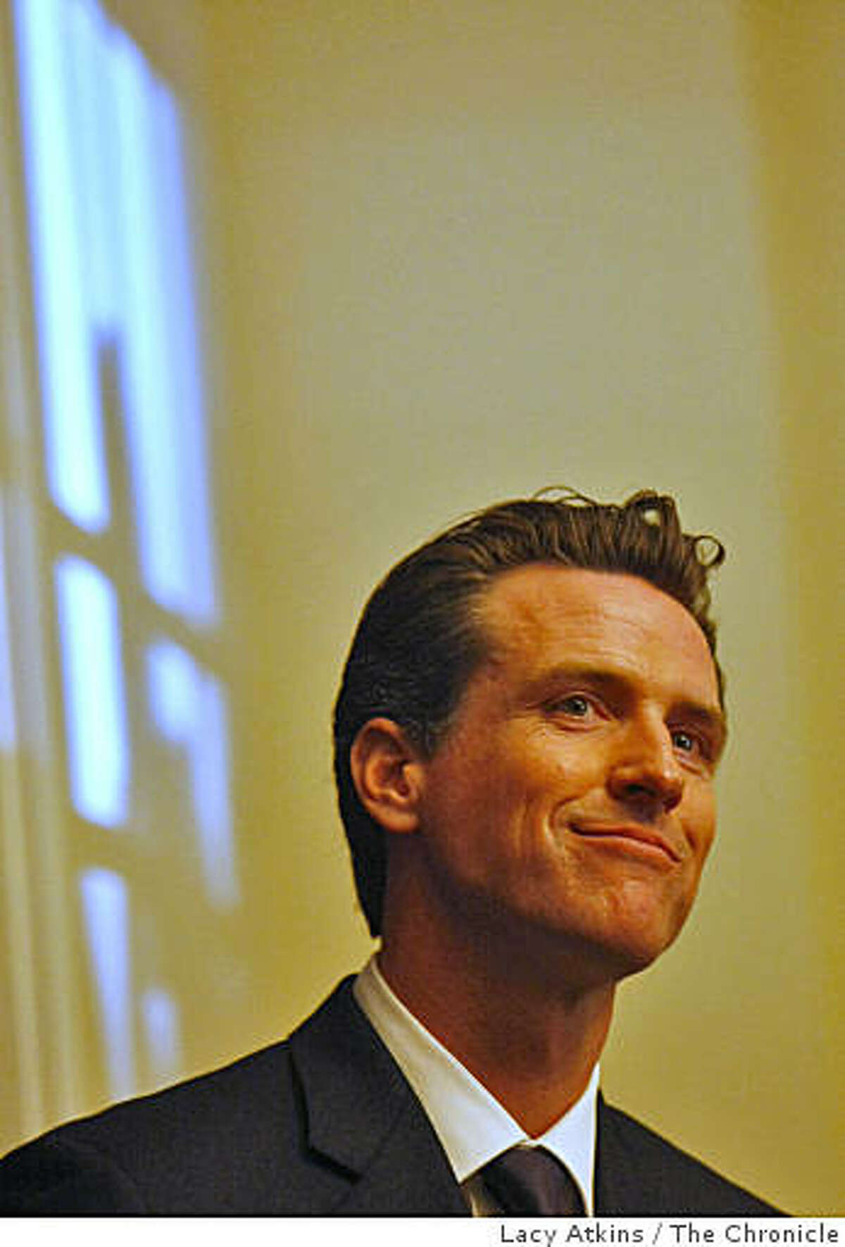 Mayor Gavin Newsom speaks as one of the guests for up and coming young political figures at the Time magazine breakfast as part of the Democratic National Convention, Tuesday Aug.26, 2008, in Denver, Colorado.