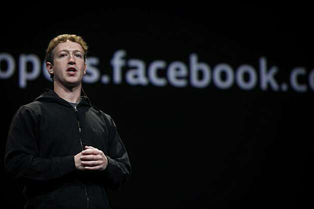 Facebook CEO Mark Zuckerberg introduces new features for Facebook during the keynote at f8, a one day developer conference sponsored by Facebook at the Concourse Design Center on Wednesday, April 21, 2010 in San Francisco, Calif. Photo: Mike Kepka, The Chronicle