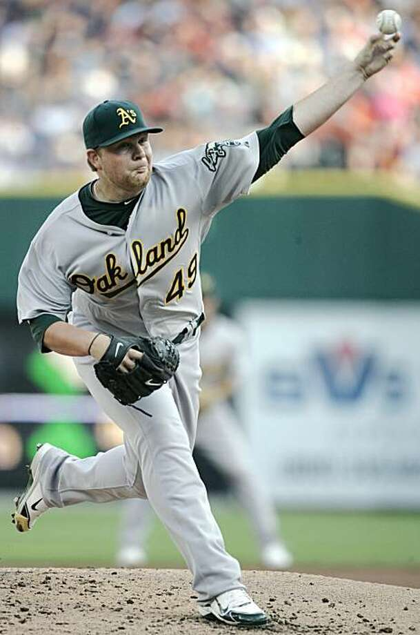 Oakland Athletics starter Brett Anderson pitches against the Detroit Tigers in the second inning of a baseball game Saturday, May 29, 2010 in Detroit. Photo: Duane Burleson, AP