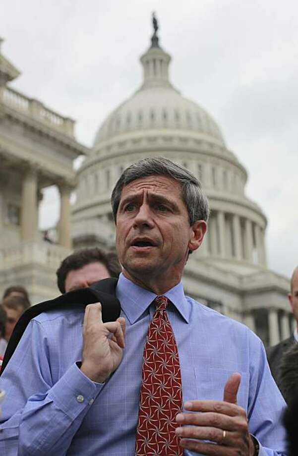 Rep. Joe Sestak, D-Pa. speaks to reporters on Capitol Hill, Friday, May 28, 2010. Forced to disclose backstage political bargaining, President Barack Obama's embarrassed White House acknowledged on Friday that it enlisted Bill Clinton to try to ease Rep.Joe Sestak out of Pennsylvania's Senate primary with a job offer. Photo: Charles Dharapak, AP