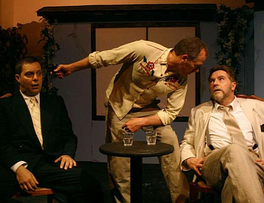"Matt (Michael Cappielli, left) finds his negotiations with the mysterious Mr. Lipps (Keith Jefferds, right) complicated by the roughneck Jake (Bill Levesque) in Levesque's dark comedy ""Company Fat"" Photo: K.S. Haddock"