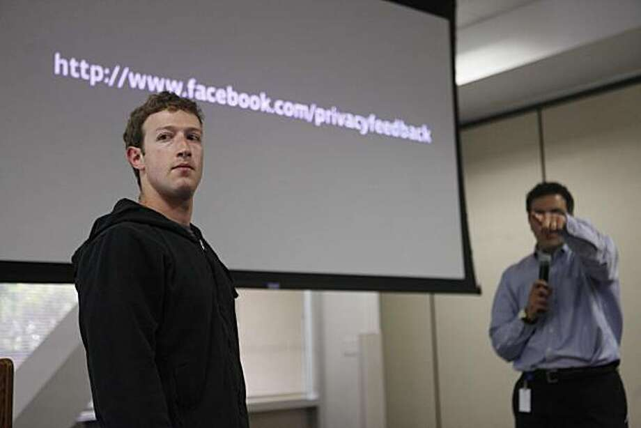 Facebook founder and CEO, Mark Zuckerberg takes questions from the media during a press at FB headquarters announcing changes to the social networking site's privacy setting on Wednesday May 26, 2010 in Palo Alto, Calif. Photo: Mike Kepka, The Chronicle