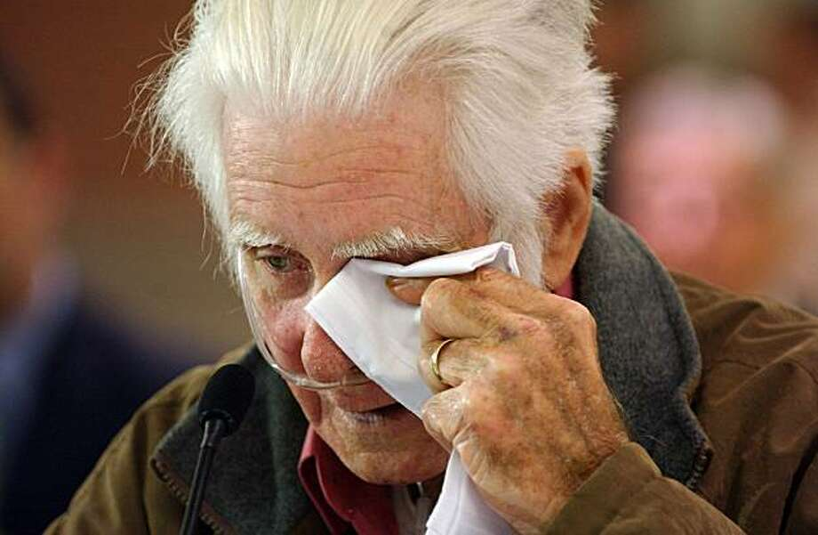 Leo Long, grandfather of Ronald Lee Maynor, wipes away a tear as he addresses the House Education and Labor Committee, during the testimony of family members during a hearing on the Upper Big Branch Mine Tragedy in Beckley, W.Va., at the Beckley-Raleigh Convention Center on Monday, May 24, 2010. Photo: Jon C. Hancock, AP