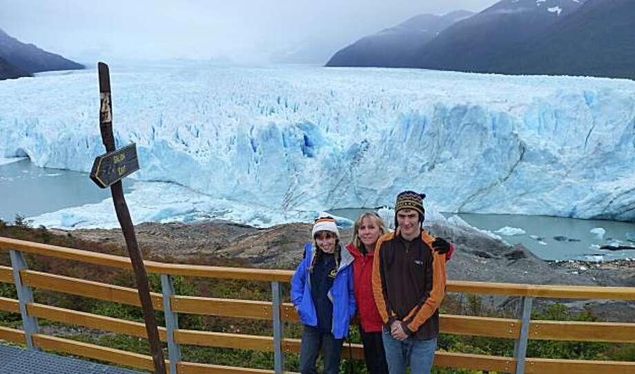 Kate Lewis, Martha Joseph and Graham Lewis at Perito Moreno Glacier, Parque Nacional los Glaciares, Argentina. Photo: Courtesy