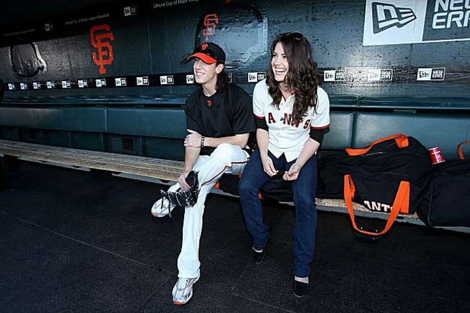 SAN FRANCISCO - AUGUST 26:  Tim Lincecum #55 (L) of the San Francisco Giants speaks with childhood friend and actress Vicki Noon in the dugout before their game against the Arizona Diamondbacks at AT&T Park on August 26, 2009 in San Francisco, California. Noon is currently playing Elphaba in Wicked.  (Photo by Ezra Shaw/Getty Images for Reebok) Photo: Ezra Shaw, Getty Images For Reebok
