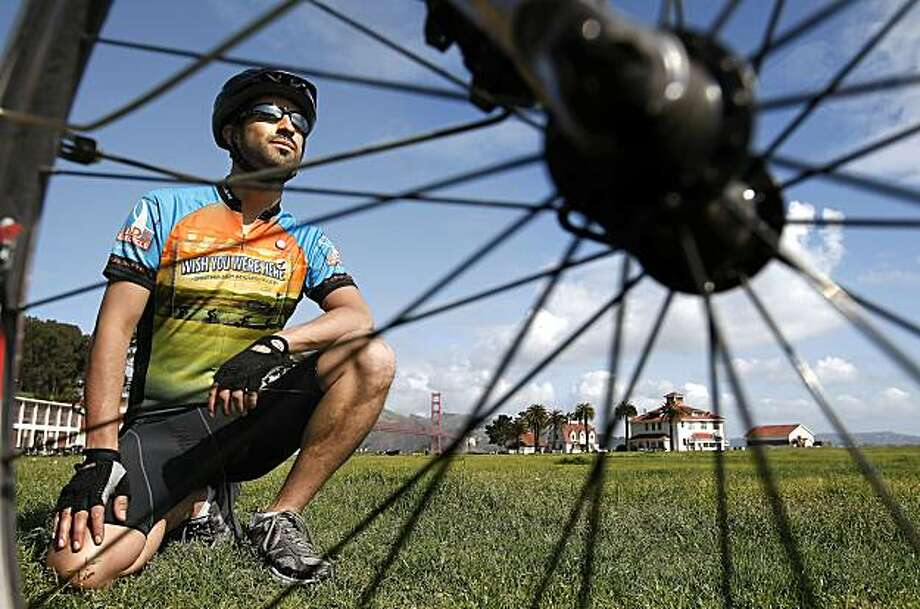 Jason Villalobos  along Crissy Field near the Golden Gate Bridge in San Francisco, Calif. on Apr. 13, 2010. Villalobos is planning to  participate in the 545 mile AIDS ride from Northern California to Los Angeles coming up in June of this year. Photo: Michael Macor, The Chronicle