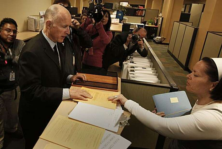 California  Attorney General Jerry Brown files his papers at Alameda County Registrars office to make official his run for Governor of the State of California on Friday Mar. 5, 2010.California  Attorney General Jerry Brown files his papers at Alameda County Registrars office to make official his run for Governor of the State of California on Friday Mar. 5, 2010. Photo: Michael Macor, The Chronicle