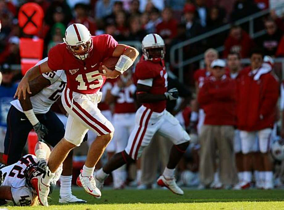 Third string quarterback Alex Loukas scrambles for a first down in the final drive that gave Stanford the win. STANFORD defeated ARIZONA Saturday, October 11, 2008 24-23 Photo: Lance Iversen, The Chronicle