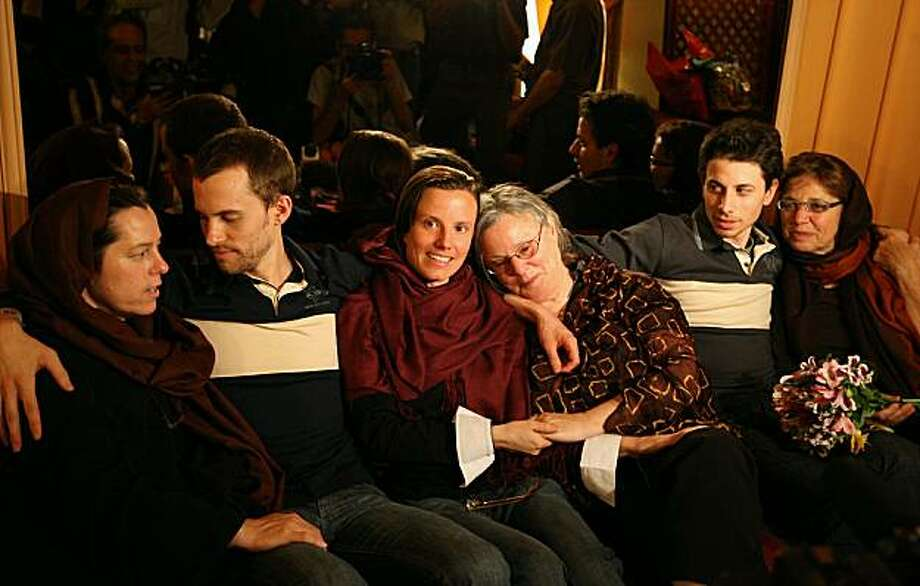 """Detained US hikers Shane Bauer (2nd-L), Sarah Shourd (C-L) and Josh Fattal (2nd-R) sit with their mothers during their first meeting since their arrest, in the Iranian capital Tehran on May 20, 2010. The mothers of three US hikers detained for 10 months in Iran called for their release as a """"humanitarian gesture"""" after an emotional reunion with their children, an AFP correspondent said. Photo: Atta Kenare, AFP/Getty Images"""