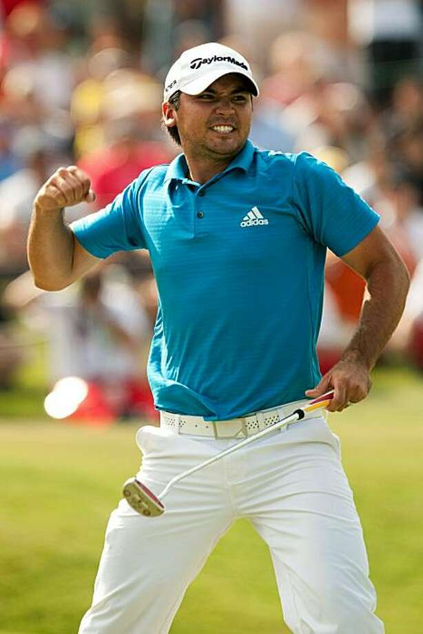 IRVING, TX - MAY 23: Jason Day of Australia pumps his fist after sinking a bogey putt on the 18th hole to win the HP Byron Nelson Championship at TPC Four Seasons Resort Las Colinas on May 23, 2010 in Irving, Texas. Photo: Darren Carroll, Getty Images