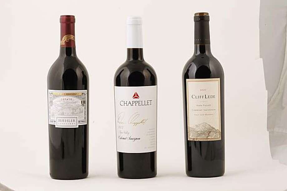 Left-Right: 2007 Buehler Vineyards Estate Cabernet Sauvignon, 2007 Chappellet Napa Valley Cabernet Sauvignon, and 2007 Cliff Lede Napa Valley Cabernet Sauvignon Stags Leap District in San Francisco, Calif., on May 19, 2010. Photo: Craig Lee, Special To The Chronicle