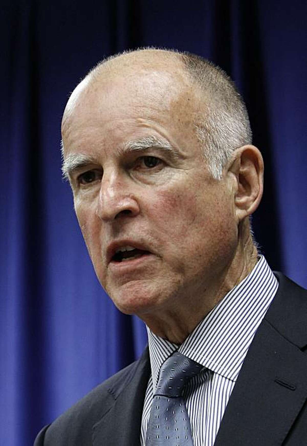 In this photo taken Thursday, May, 6, 2010, Attorney General Jerry Brown, who is running unopposed for the Democratic nomination for Governor in the June primary, is seen at a news conference in Sacramento, Calif. (Photo/Rich Pedroncelli)