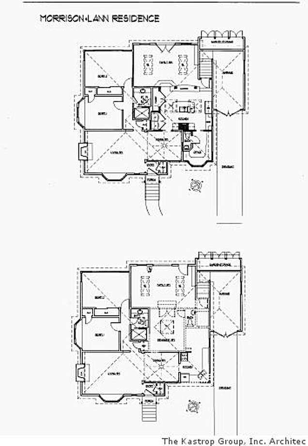 Ellen Morrison and Ken Lann's before and after kitchen floorplans. At top is the remodel, which moved the kitchen toward the center of the house. Photo: The Kastrop Group, Inc. Architec