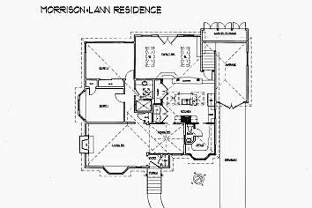 Ellen Morrison and Ken Lann's before and after kitchen floorplans. At top is the remodel, which moved the kitchen toward the center of the house.