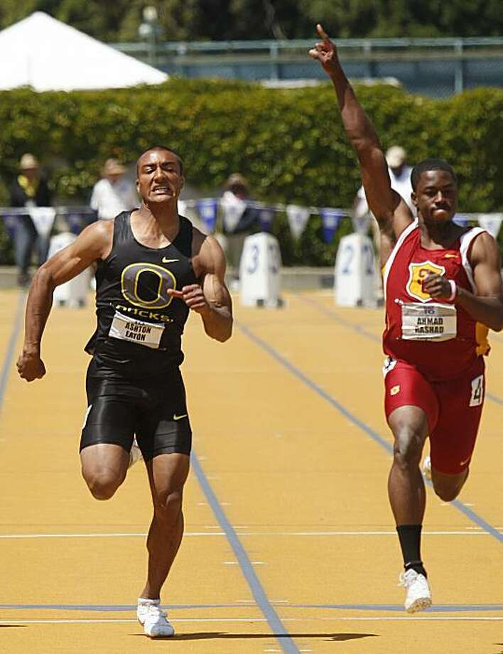 Southern California's Ahmad Rashad, right, defeats Oregon's Ashton Eaton to win the men's 100 meters Sunday, May 16, 2010, during the Pac-10 track and field championships in Berkeley, Calif. Photo: Ben Margot, AP