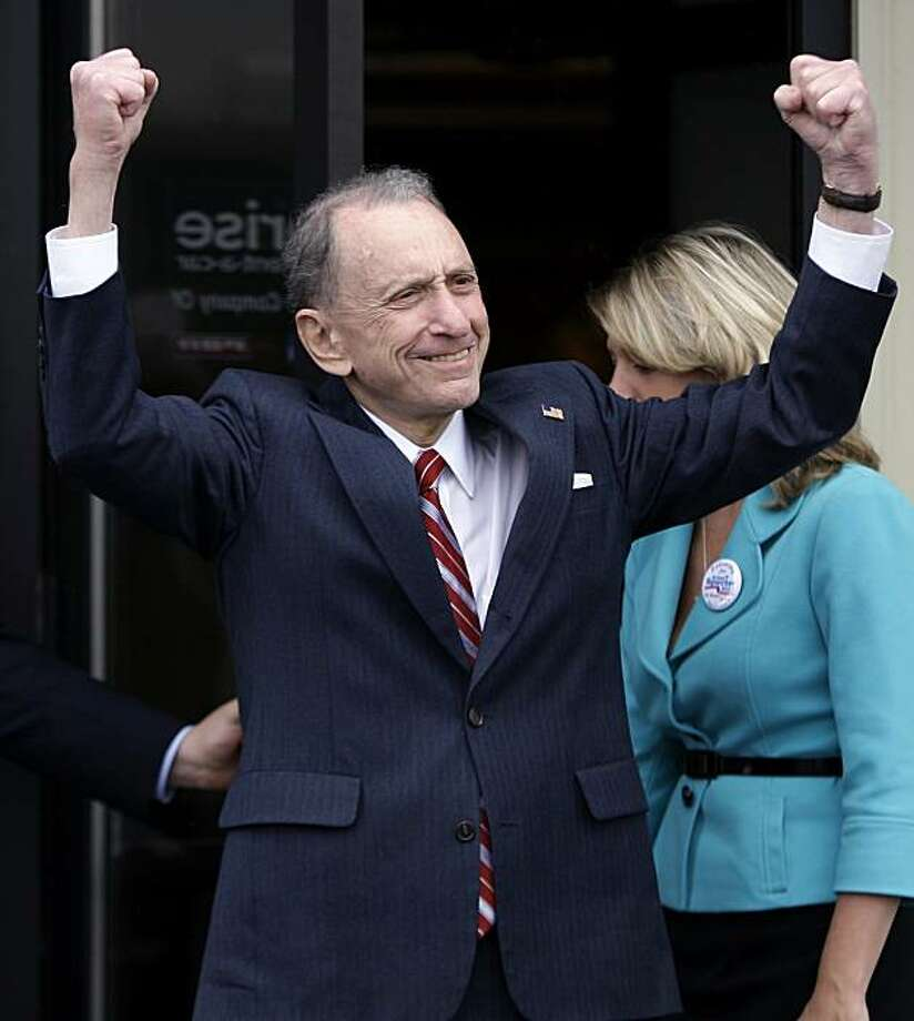 Sen. Arlen Specter, D-Pa. reacts to supports as he leaves the Capital City Airport in New Cumberland, Pa., Monday, May 17, 2010, as he campaigns across Pennsylvania for the Democratic nomination to run for re-election. Photo: Carolyn Kaster, AP