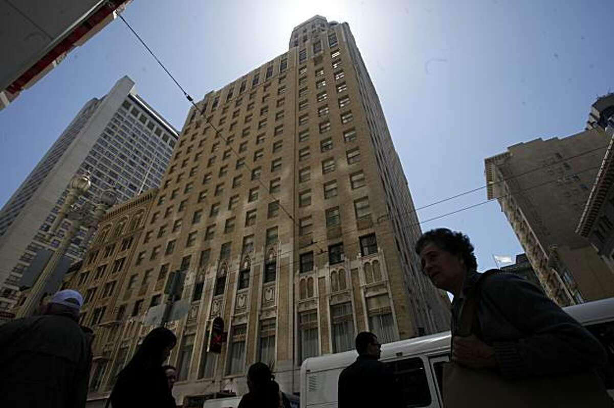 The Sir Francis Drake Hotel points toward the sky on Powell Street on Thursday May 20, 2010 in San Francisco, Calif. The Hotel is up for sale and group of investors from China are said to be interested in a purchasing it.