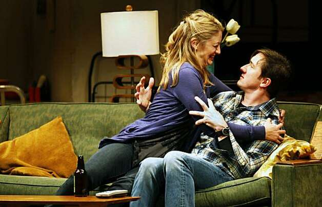"Heidi Schreck, who plays Ellen, hugs Carson Elrod who plays Danny in new production of ""In the Wake, "" a new show by Lisa Kron and director Leigh Silverman, who created the big Broadway hit ""Well."" ""In the Wake, "" is now playing at Berkeley's Repertory Roda Theater. Thursday May 13, 2010. Photo: Lance Iversen, The Chronicle"