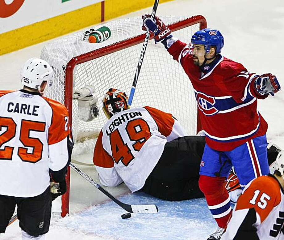 The Montreal Canadiens' Tomas Plekanec celebrates the first goal against Philadelphia Flyers goalie Michael Leighton in Game 3 of the NHL's Eastern Conference finals at the Bell Centre in Montreal, Quebec, on Thursday, May 20, 2010. (Allen McInnis/Canwest News Service/MCT) Photo: Allen McInnis, MCT