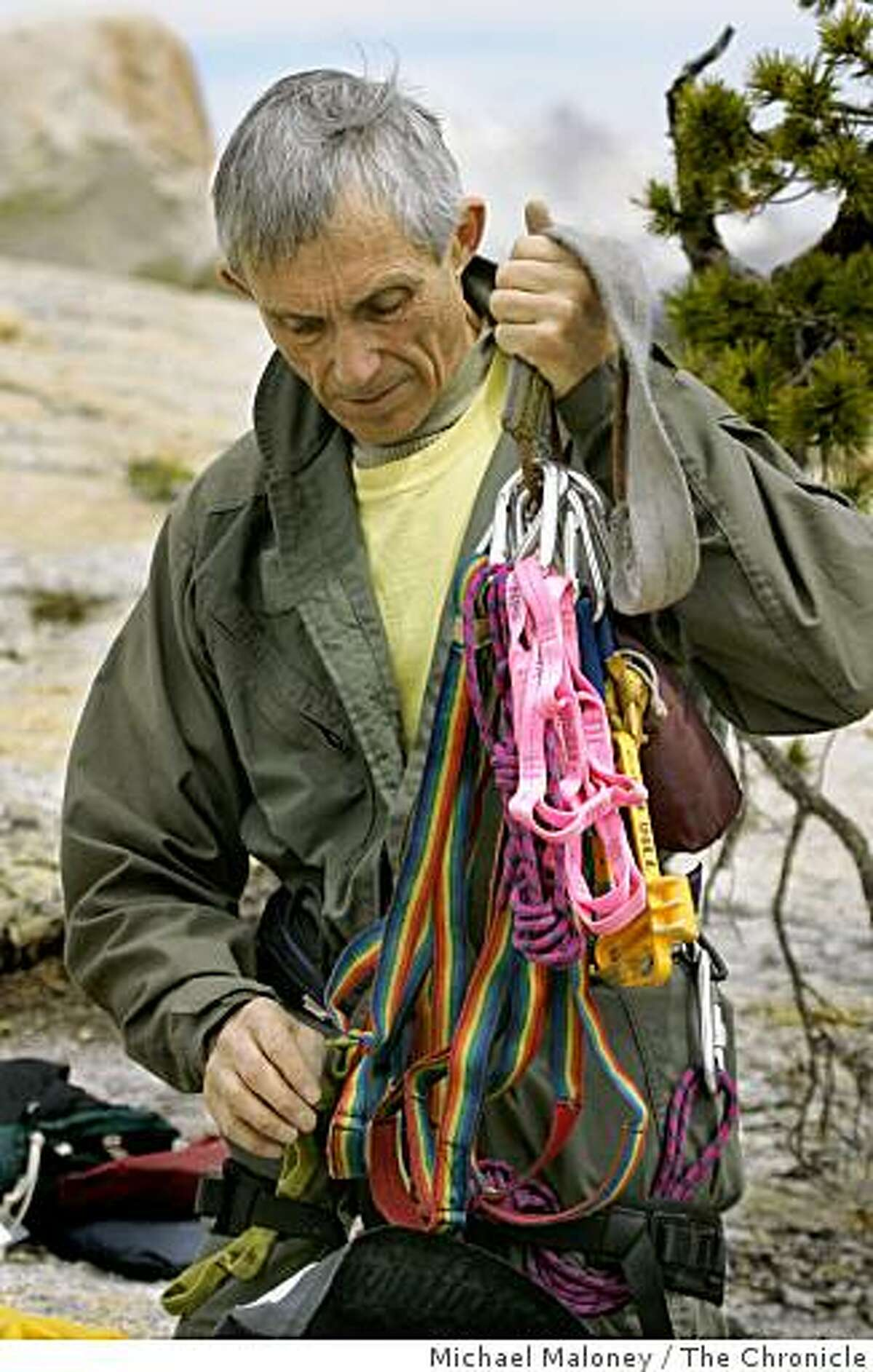 John Dill, 69 years old, checks his safety gear prior to the short haul training in Yosemite National Park on May 24, 2007. Dill is a member of the Yosemite National Park�s Search and Rescue Team