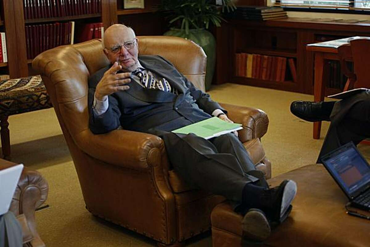 Paul A. Volcker, a top White House economic adviser, having a press conference on the Stanford University campus in Palo Alto, Calif., on Tuesday, May 18, 2010.