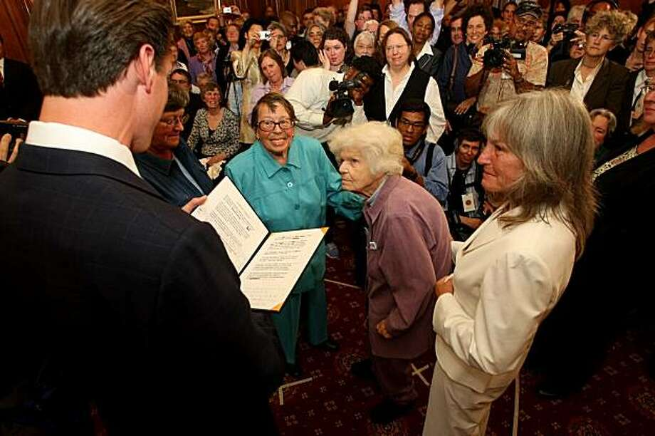 After 55 years Phyllis Lyon and  Del Martin  are married by Mayor Gavin Newson, Monday June 16, 2008, in San Francisco, Calif. Photo: Lacy Atkins, The Chronicle