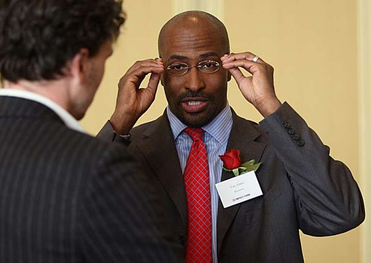 Van Jones, a former Bay Area activist who became a green jobs activist, at an Impact Fund event at Four Seasons Hotel in San Francisco, Calif., on Thursday, May 13, 2010. He is talking with author Dave Eggers at the event.
