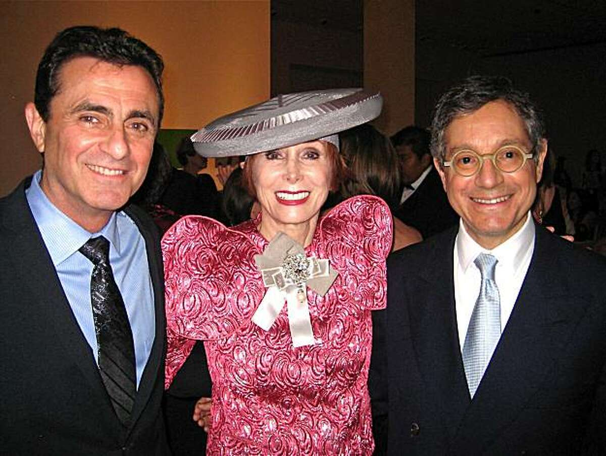 SFMOMA Director Neal Benezra (left) with 75th Gala Chairwoman Norah Stone and MOCA Director Jeffrey Deitch. May 2010.