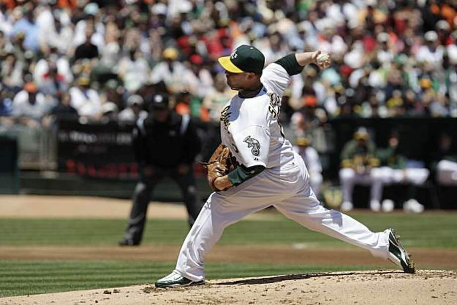 Ben Sheets was the starting pitcher for the Oakland Athletics during the Oakland Athletics vs. San Francisco Giants game at McAfee  Coliseum in San Francisco, Calif. on Sunday May 23, 2010. Final Score: Athletics: 3 vs. Giants: 0. Photo: Lea Suzuki, The Chronicle