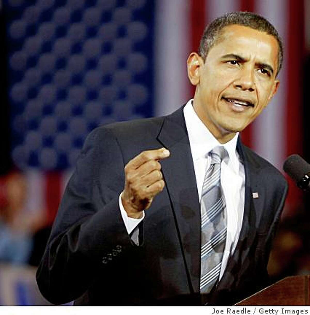 Democratic presidential nominee U.S. Sen. Barack Obama (D-IL) speaks during a campaign rally at James Madison University October 28, 2008 in Harrisonburg, Virginia. Obama continues to campaign one week before the election on November 4.