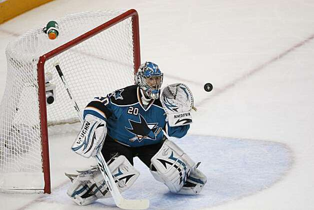 San Jose Sharks goalie Evgeni Nabokov (20) during Game 1 of the NHL hockey Western Conference finals, Sunday, May 16, 2010, in San Jose, Calif. Photo: Paul Sakuma, AP