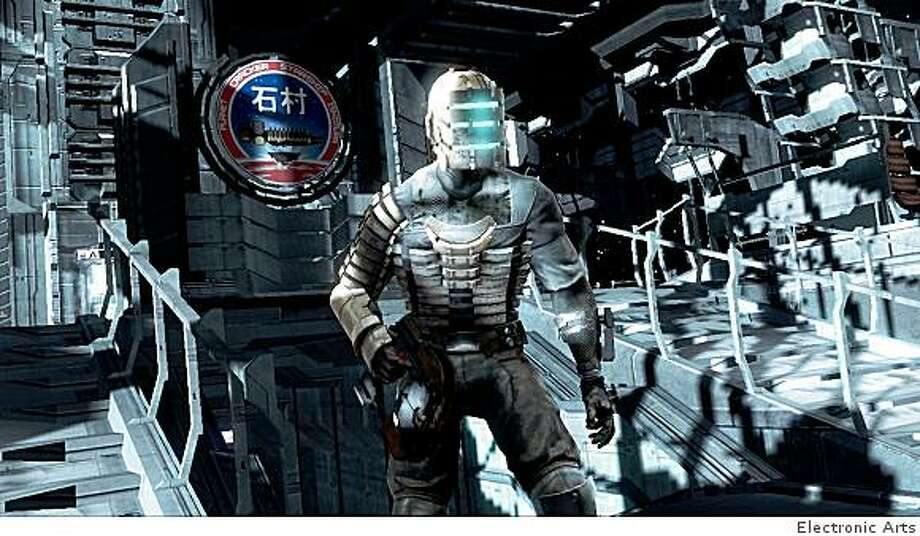 The exterior sequences in Dead Space are among the game's creepier moments, full of weird lighting and muffled sounds. Photo: Electronic Arts