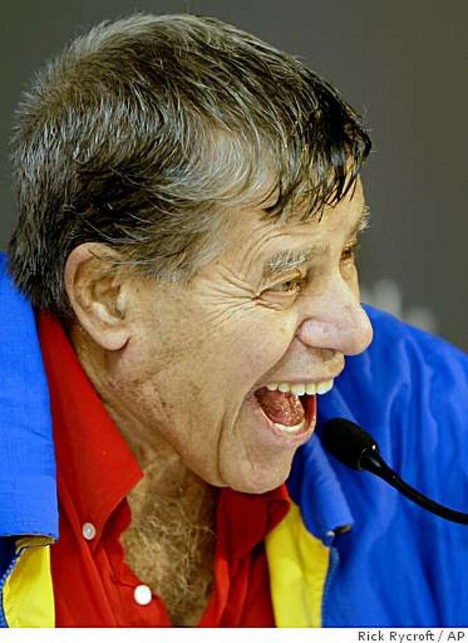 Legendary comedian Jerry Lewis dribbles laughs while talking about his touring show in Sydney, Australia, Friday, Oct. 24, 2008. The show, combining anecdotes together with song, and accompanied by a 24-piece orchestra, will open Sunday at the Sydney Opera House. (AP Photo/Rick Rycroft) Photo: Rick Rycroft, AP