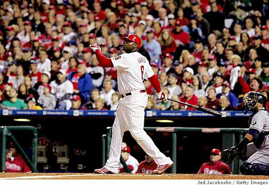 PHILADELPHIA - OCTOBER 26:  Ryan Howard #6 of the Philadelphia Phillies rounds the bases after hitting a three-run home run  against Andy Sonnanstine #21 of the Tampa Bay Rays during game four of the 2008 MLB World Series on October 26, 2008 at Citizens Bank Park in Philadelphia, Pennsylvania.  (Photo by Jed Jacobsohn/Getty Images) Photo: Jed Jacobsohn, Getty Images