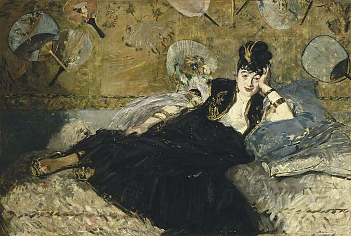 """""""Woman with Fans"""" (1873) oil on canvas by Edouard Manet copyright RMN/ Musee d'Orsay"""