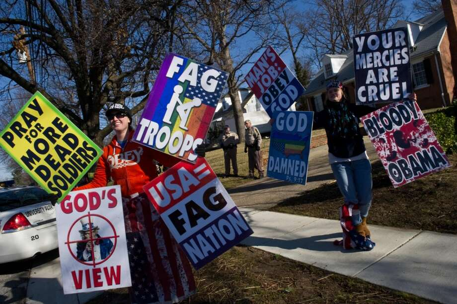 A Westboro Baptist Church protest in March 2011. Photo by Getty Images