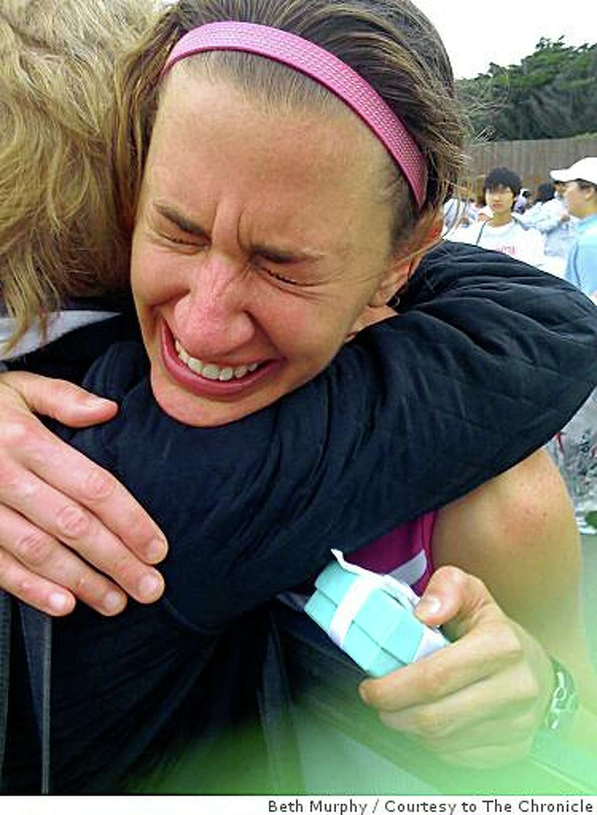 Arien O'Connell hugs her mother Susan O'Connell after finishing the Nike Woman's Marathon on October 19, 2008 in San Francisco, Calif.