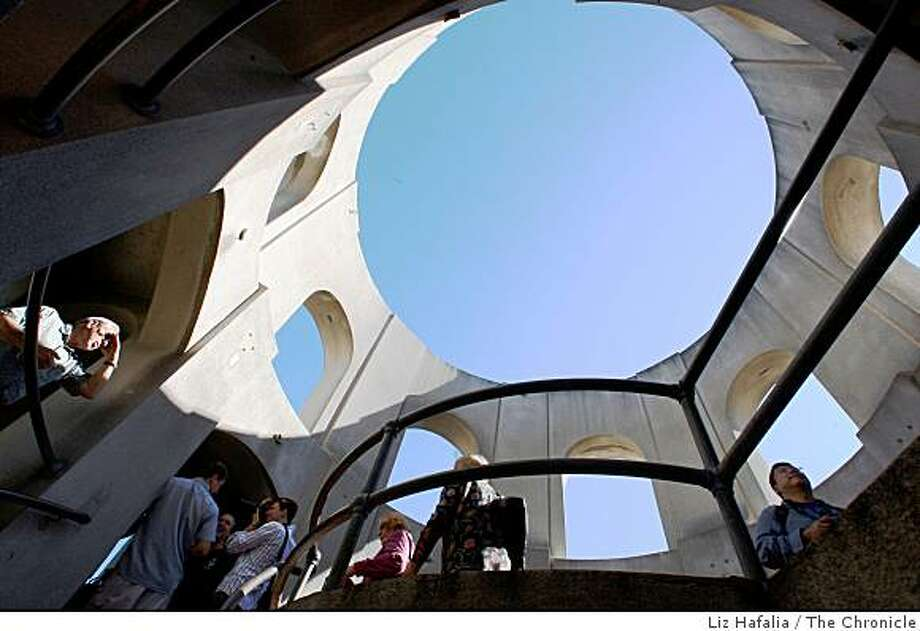 Visitors tour the top of Coit Tower in San Francisco, Calif., on October 20, 2008. The venerable San Francisco landmark is celebrating its 75th Anniversary on Saturday, October 25, 2008. Photo: Liz Hafalia, The Chronicle