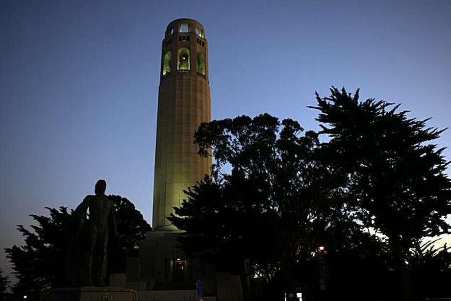 Coit Tower sits atop Telegraph Hill . Photo: Liz Hafalia, The Chronicle