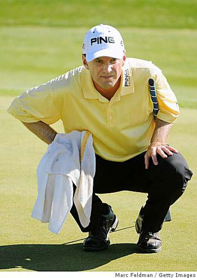 Kevin Sutherland lines up a birdie putt on the 14th hole during the third round of  the Fry's.Com Open held at Grayhawk Golf Club on October 25, 2008 in Scottsdale, Arizona. Photo: Marc Feldman, Getty Images