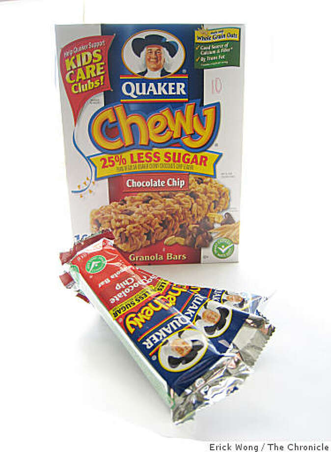 Quaker brand chewy chocolate chip granola bars with 25% less sugar ($4.29/10 bars at Safeway). Photo: Erick Wong, The Chronicle
