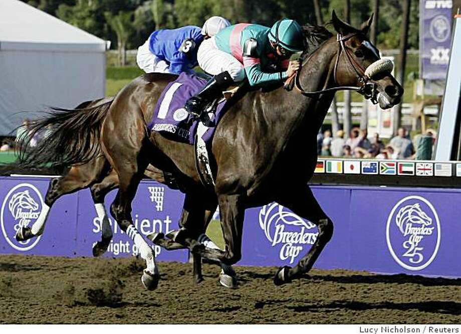 Zenyatta ridden by Mike Smith (R) pulls ahead of Cocoa Beach to win the Breeders Cup Ladies' Classic horse race at Santa Anita Park in Arcadia, California, October 24, 2008.  REUTERS/Lucy Nicholson (UNITED STATES) Photo: Lucy Nicholson, Reuters
