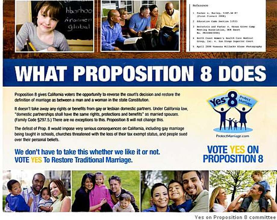 This mailer in favor of Proposition 8 includes a stock photo also used in a door hanger featuring District 11 supervisor candidates in San Francisco. Photo: Yes On Proposition 8 Committee