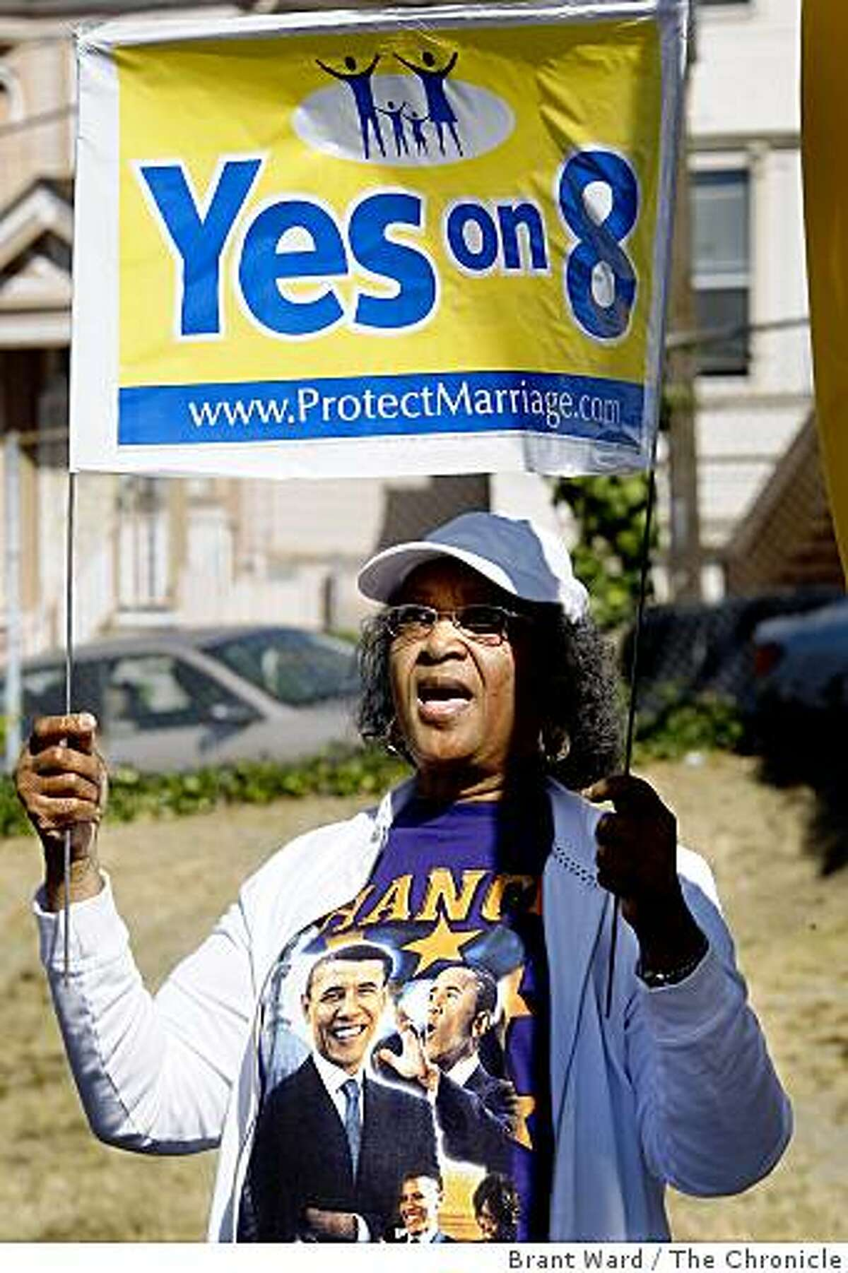 Gwen Williams from Oakland wore an Obama shirt while attending the rally. The bus tour in support of Proposition 8 arrived at the Foothill Missionary Baptist Church in Oakland Tuesday October 21, 2008.