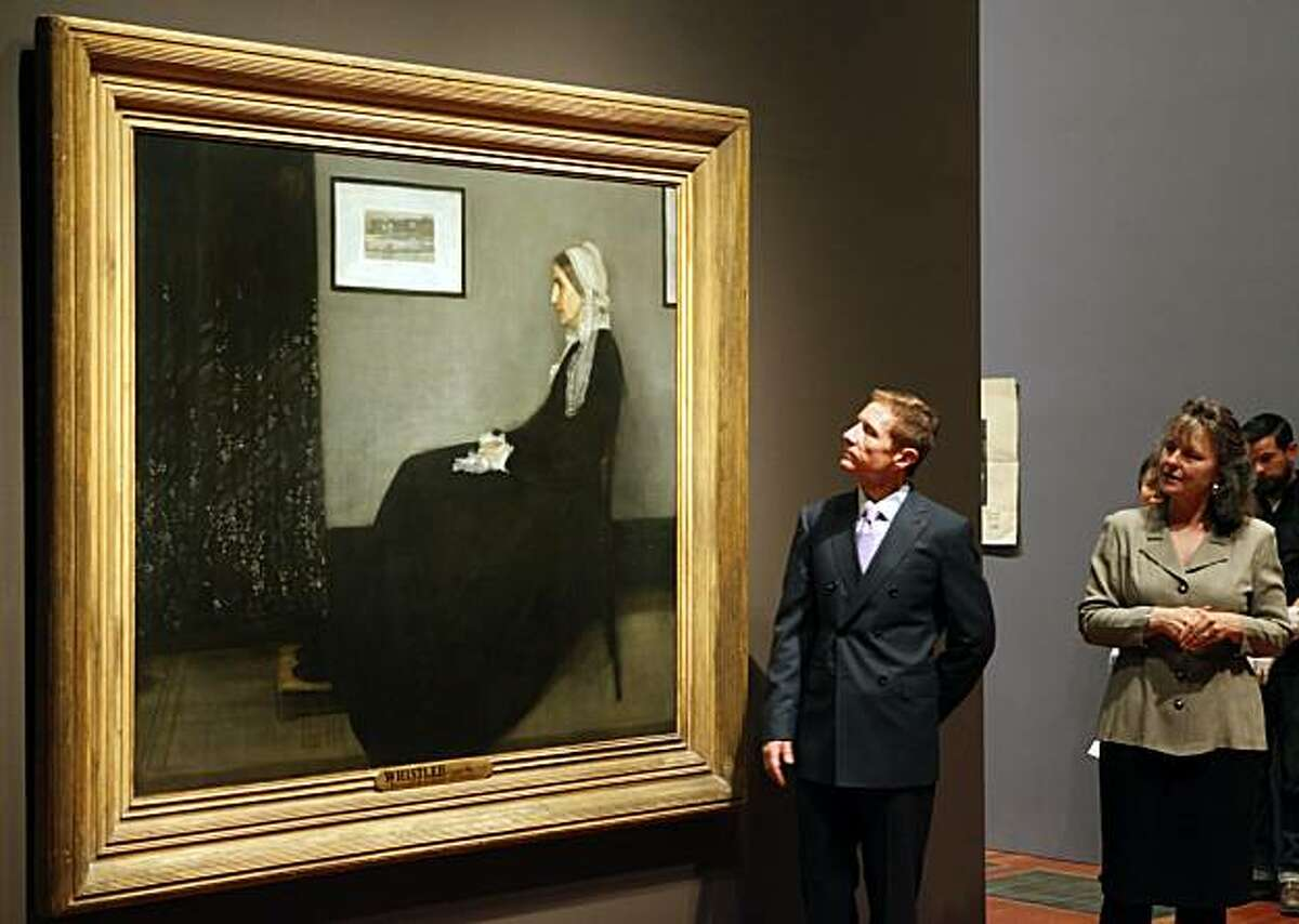 John Buchanan and Dr Lynn Orr address the media after employees of the De Young Museum installed Whistlers Mother by James McNeill Whistler painted in 1871. The De Young Museum will unveil it's newsiest show May 22nd