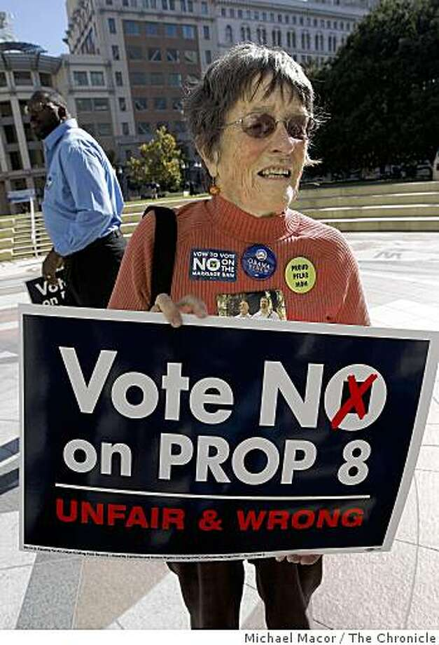 Mary Strauss, of Oakland,  has a son who is gay, joins a rally on the steps of City Hall in Oakland, Calif. on Tuesday Oct. 21, 2008,  in supporting the defeat of Proposition 8 on the November ballot. Photo: Michael Macor, The Chronicle