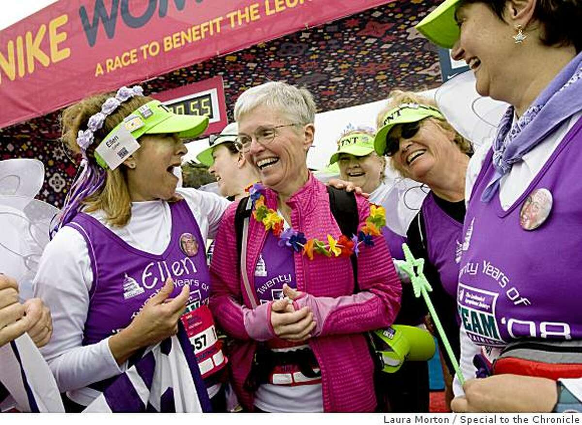 Peggy Good (center), who recently completed a round of chemotherapy treatments, was supported by several of her friends who walked with her in the Nike Women's Marathon in San Francisco, Calif., on Sunday, October 19, 2008. The annual race is a fundraiser for the Leukemia & Lymphoma Society.